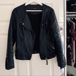 Topshop Vegan Leather Moto Jacket